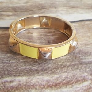 L.A. Designs YELLOW ENAMEL HINGED CUFF BANGLE NWT